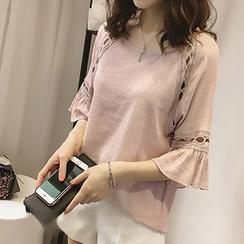 Fashion Street - Ruffle Elbow-Sleeve T-Shirt