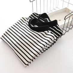 Bonbon - Stripe Mock-neck Knit Top