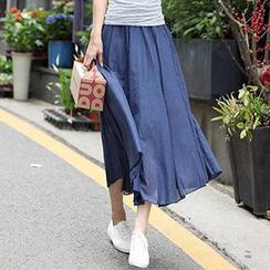 Blue Belle - Linen-blend Midi Skirt
