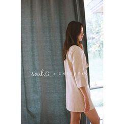 CHERRYKOKO - Mock-Neck Wool Blend Mini Shift Dress