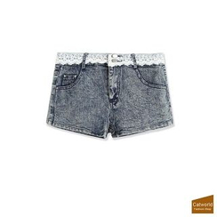 CatWorld - Lace Trim Denim Shorts