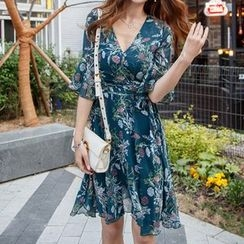 Aurora - Floral Ruffled Chiffon Dress