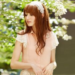 Tokyo Fashion - Lace-Sleeve Beaded Collar Blouse