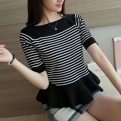 Bubbleknot - Elbow-Sleeve Striped Sweater