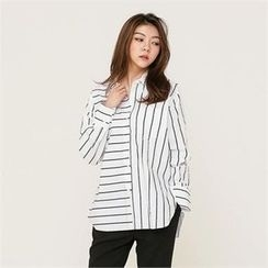 MAGJAY - Slit-Side Striped Shirt