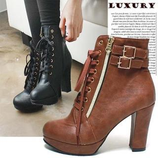 Reneve - Lace-Up Heel Ankle Boots