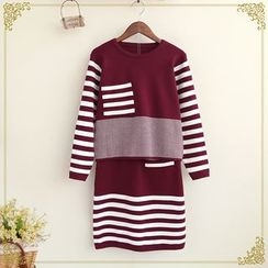 Fairyland - Set: Striped Panel Long Sleeve Knit Top + Mini Knit Skirt