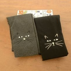 Suzette - Embroidered Cat Fleece-lined Leggings