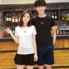 Lovebirds - 短袖刺繡T恤
