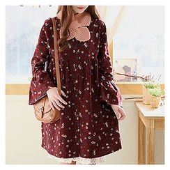 Sechuna - Bell-Sleeve Floral-Patterned Dress