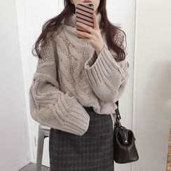 MATO - Cable Knit Turtleneck Sweater