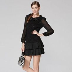 O.SA - Embellished-Collar Sequined Dress