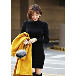 ssongbyssong - Turtle-Neck Knit Dress