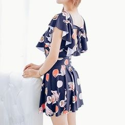 DJ Design - Printed Frilled Open-back Swimdress
