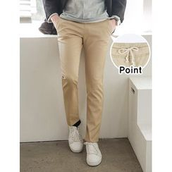 STYLEMAN - Drawstring-Waist Colored Cotton Pants