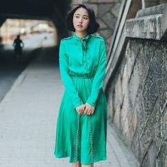 11.STREET - Long-Sleeve Tie-collar Dress