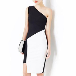 LIVA GIRL - One-shoulder Panel Sleeveless Dress