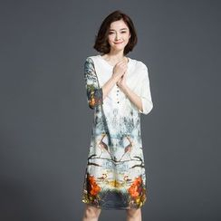 la nuit - Printed 3/4-Sleeve Silk Dress