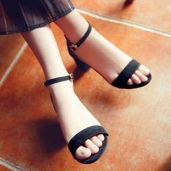 Shoeland - 踝帶粗跟涼鞋
