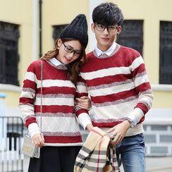 hooboo - Couple Matching Striped Sweater