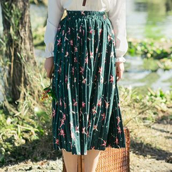 Sens Collection - Floral Print Pleated Midi Skirt