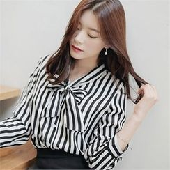CHICLINE - Ribbon Color-Block Stripe Blouse