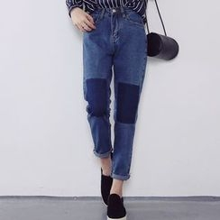 MATO - Color Panel Cropped Jeans