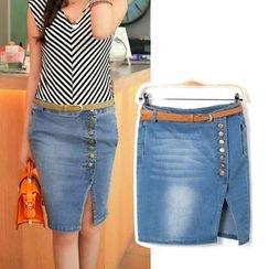 Isadora - Washed Side Slit Denim Skirt