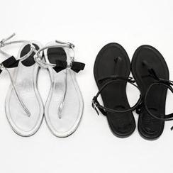 1ROA - 飾蝶結夾趾涼鞋