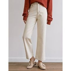 FROMBEGINNING - Stitched Cotton Boot-Cut Pants