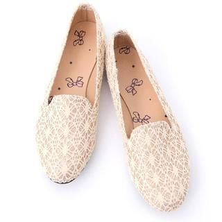 D.P-Shop - Lace-Embroidered Casual Flats