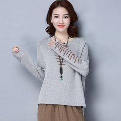 LANA - 前短后长套头衫女2017春装韩版宽松显瘦针织上衣长袖不规则针织衫