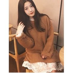 Oaksa - 套装: 针织上衣 + 蕾丝连衣裙