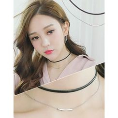 soo n soo - Choker Layered Metal-Bar Necklace