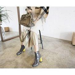 MARSHMALLOW - Banded-Waist Pleated Maxi Skirt