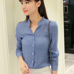 Bornite - Plain Stand Collar Shirt