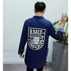 Zeesebon - Printed Back Long Denim Jacket