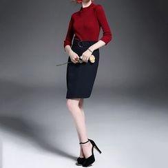 Alaroo - 套裝: 七分袖羅紋上衣 + 鉛筆裙