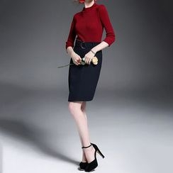 Alaroo - Set: Ribbed 3/4-Sleeve Top + Pencil Skirt