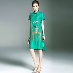 Elabo - Embroidered Short-Sleeve Cheongsam