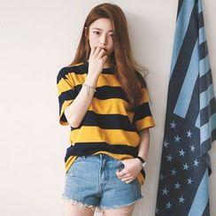Dasim - Striped Crewneck T-Shirt
