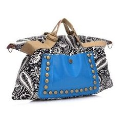 Auree - Paneled Printed Studded Satchel
