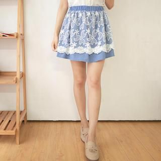 Tokyo Fashion - Elastic-Waist Lace-Panel Denim Skirt