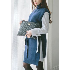 REDOPIN - Mock-Neck Tie-Waist Knit Vest
