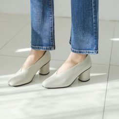 JUSTONE - Square-Toe Cylinder-Heel Pumps