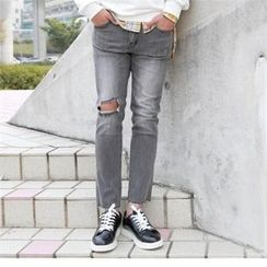 BYMONO - Fray-Hem Washed Slim-Fit Pants
