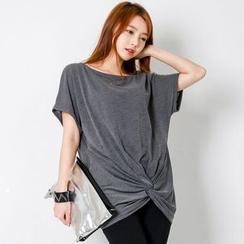 FASHION DIVA - Knot-Front Mélange T-Shirt