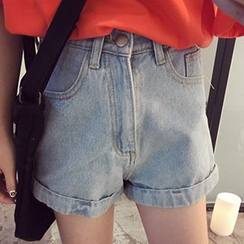 YUKISHU - High Waist Washed Denim Shorts
