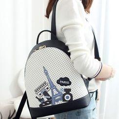 Princess Carousel - Paris Print Colour Block Backpack