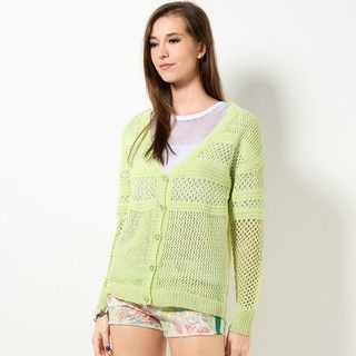 YesStyle Z - Chiffon Back Loose-Knit Cardigan